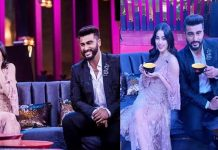 Arjun Kapoor and Janhvi Koffee with Karan Johar