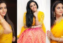 Sreemukhi Looking Beautiful In Half Saree Images