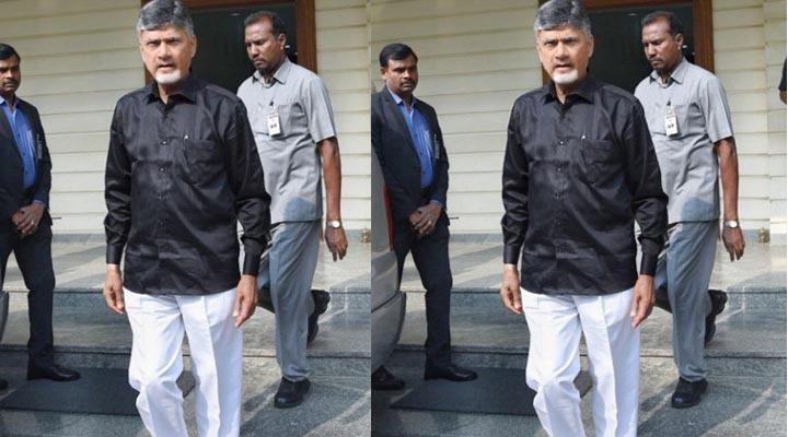 Chandrababu Naidu In Black Shirt