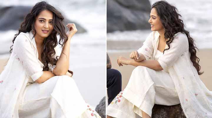 Anushka Shetty In White Dress At Beach