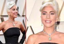 Actress Lady Gaga In Black Dress At Oscars 2019