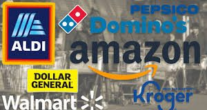 Amazon. CVS, Kroger, Dominos