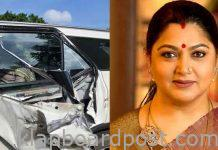 Actress Khushboo meets with an accident