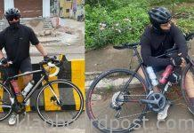 Ajith cycling on hyderabad roads photos goes viral